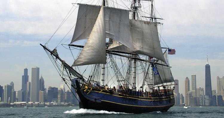 Sail Ship on Michigan Lake